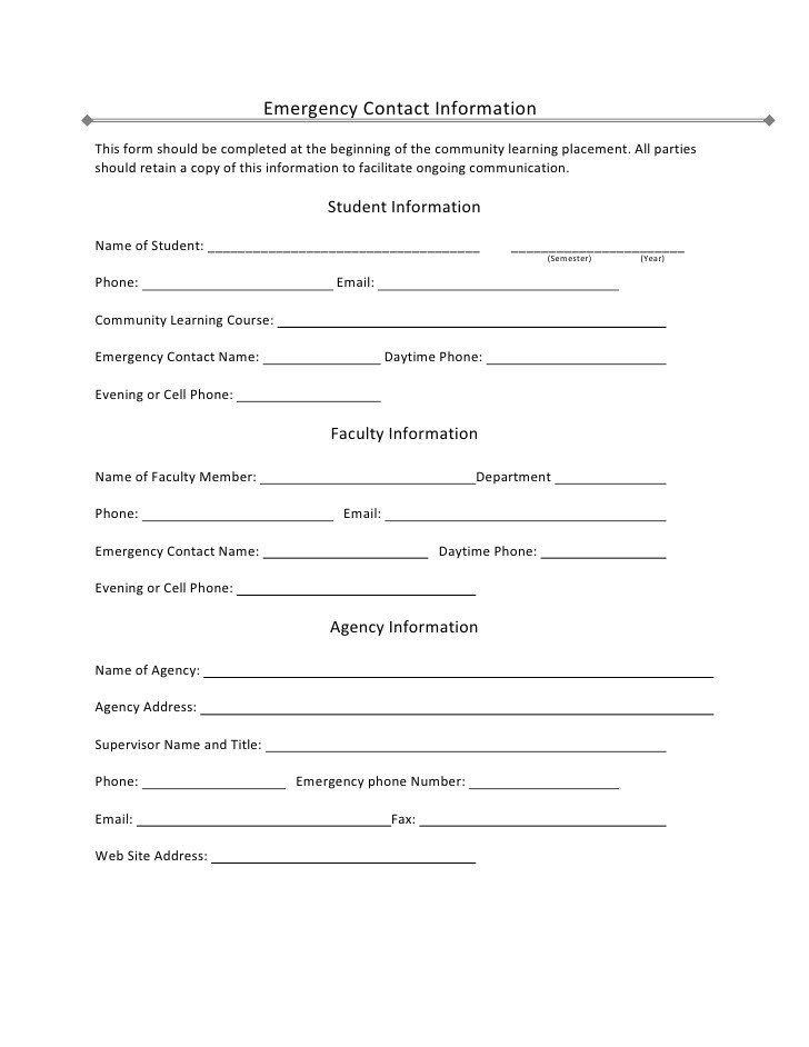 Emergency Contact Information form Student Emergency Contact Information