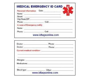 Emergency Medical Card Template 8 Best Of Free Printable Medical Cards Free