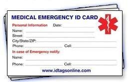 Emergency Medical Card Template bye bye Bella Flora