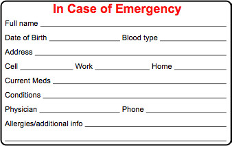 Emergency Medical Card Template Cycling Skills In Case Of Emergency Ice Card