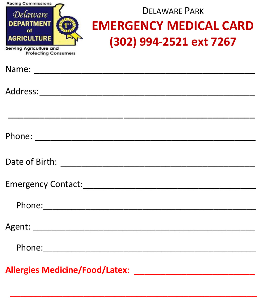 Emergency Medical Card Template Delaware Jockeys association