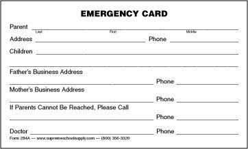 Emergency Medical Card Template Emergency Information Card 284a Supreme School Supply