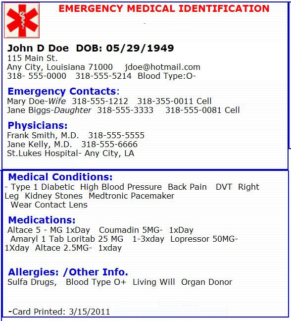 Emergency Medical Card Template Emergency Medical Card Emergency Preperation