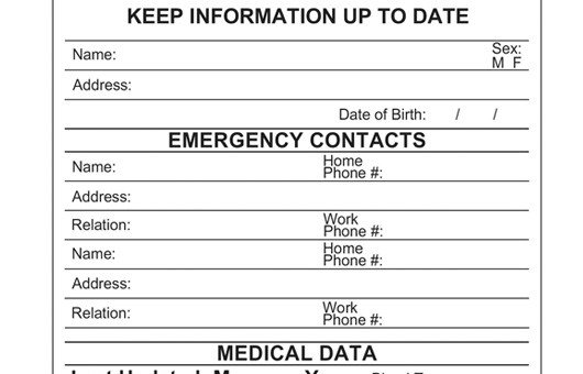 Emergency Medical Card Template File Of Life