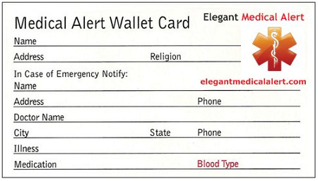 Emergency Medical Card Template Free Medical Id Wallet Card