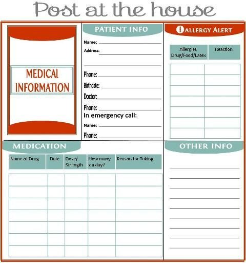 Emergency Medical Card Template Home Management Binder About Us Family Emergency