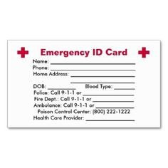 Emergency Medical Card Template Personalised Medical Information Cards
