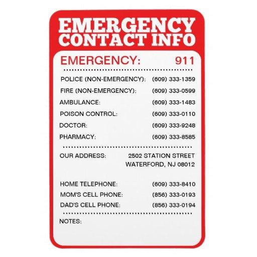 Emergency Phone Numbers Template Best Family Disaster Kit Tramadol Emergency Telephone