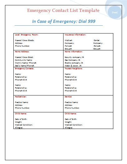 Emergency Phone Numbers Template Business Emergency Contact List Template