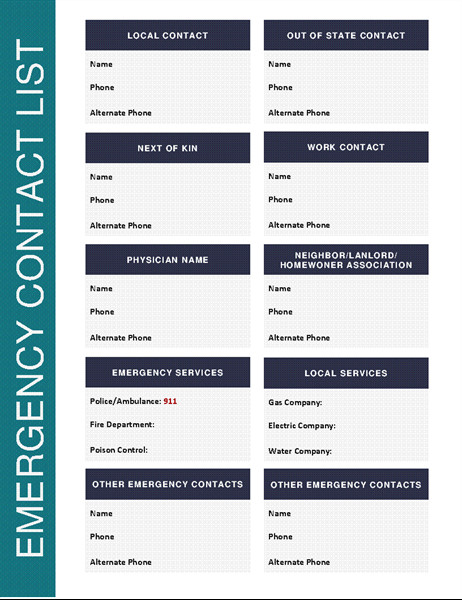Emergency Phone Numbers Template Emergency Contact List
