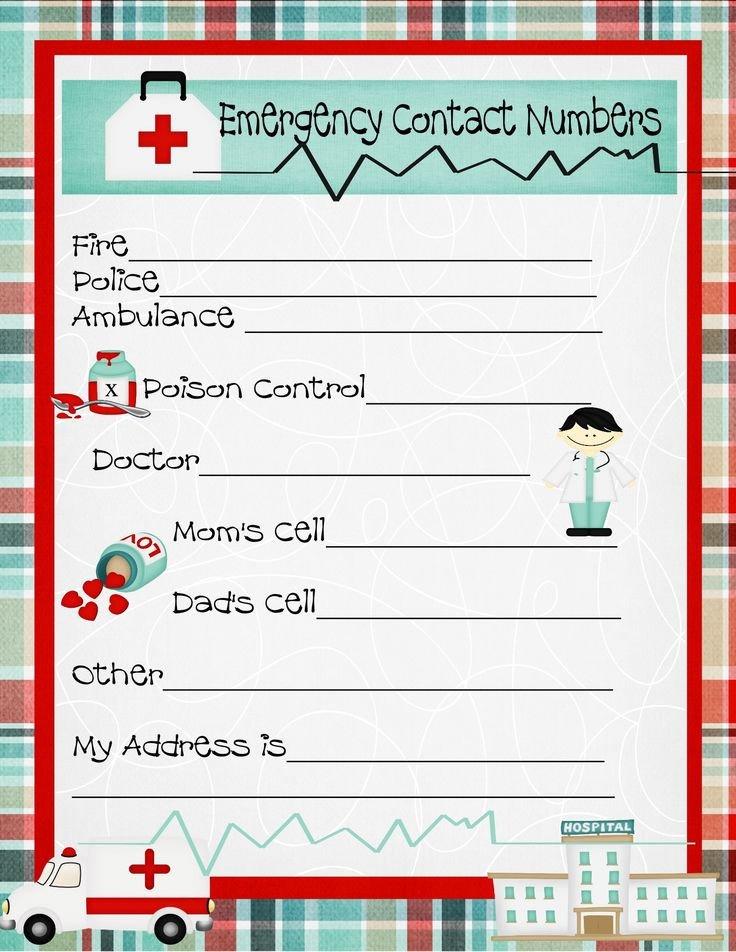 Emergency Phone Numbers Template Emergency Numbers Printable
