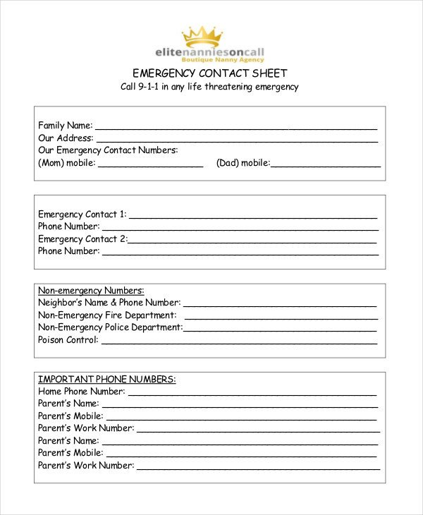 Emergency Phone Numbers Template Free Contact List Template 10 Free Word Pdf Documents