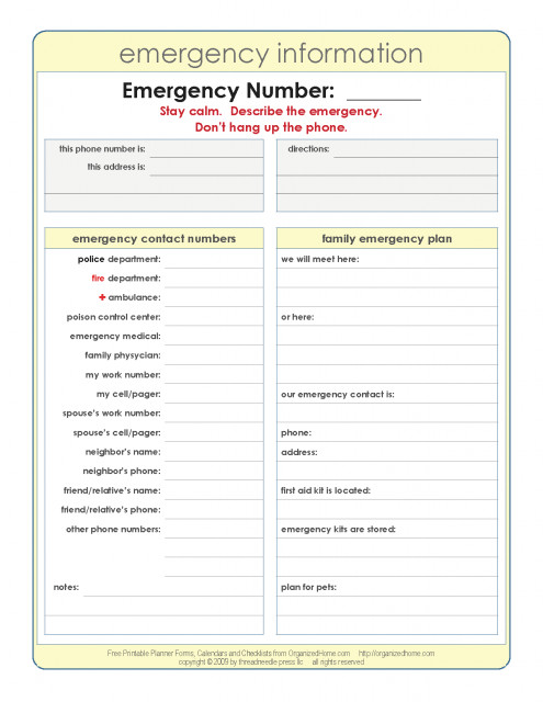 Emergency Phone Numbers Template Hoss S World January 2011