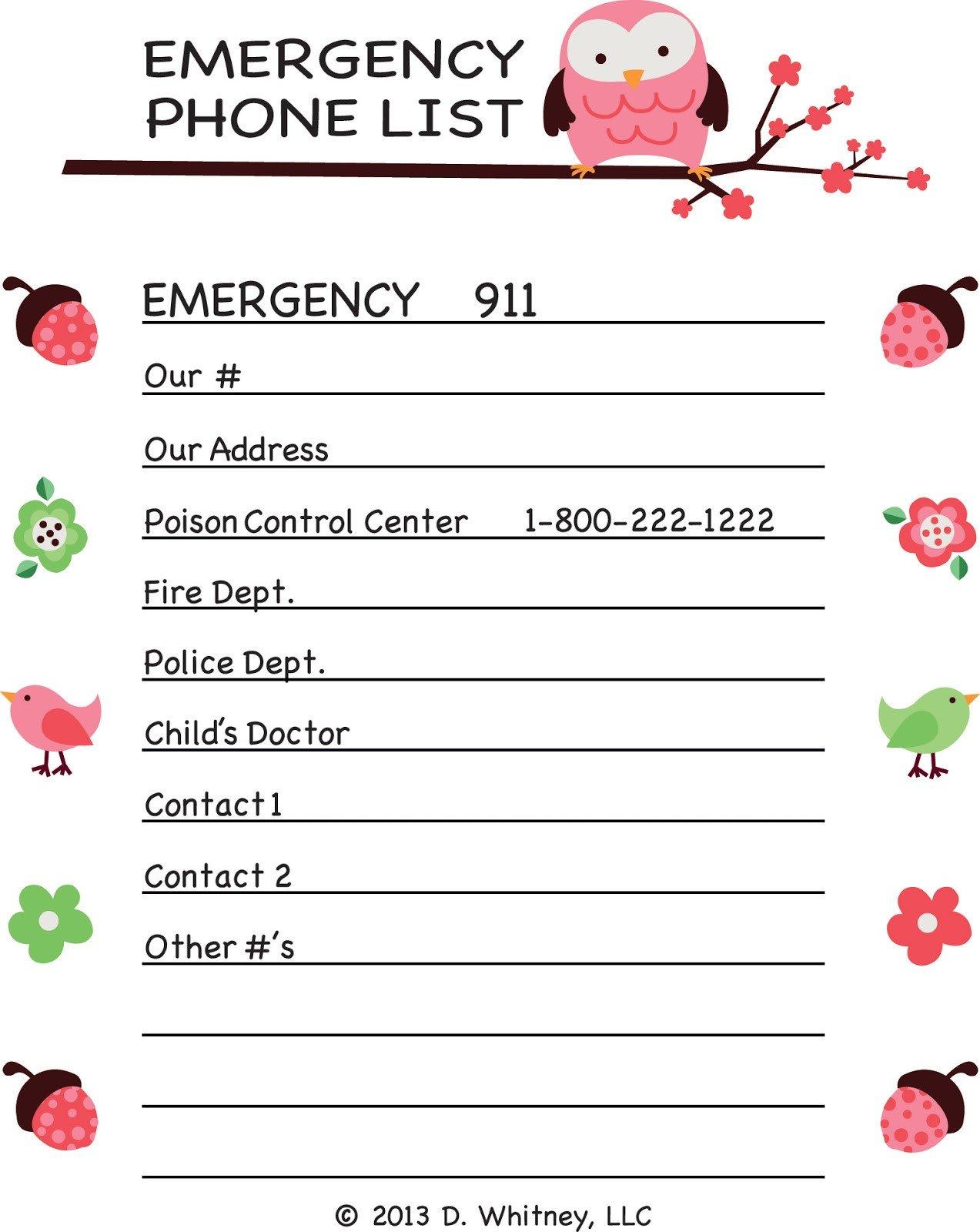 Emergency Phone Numbers Template Parking Pal Emergency Phone List