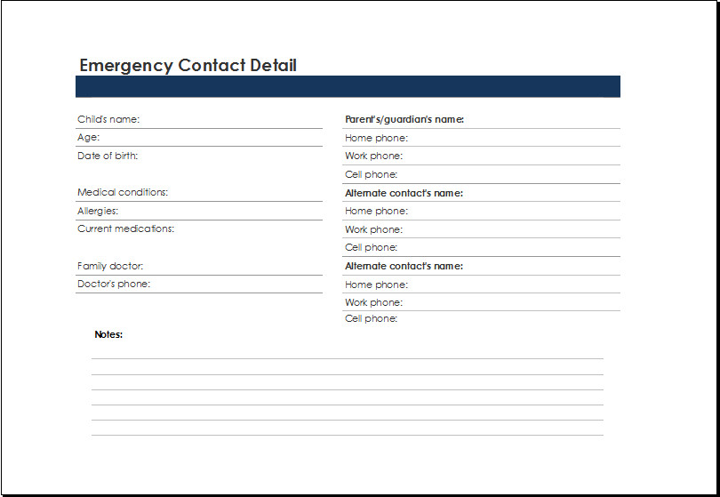 Emergency Phone Numbers Template Printable Excel Emergency Contact List Template