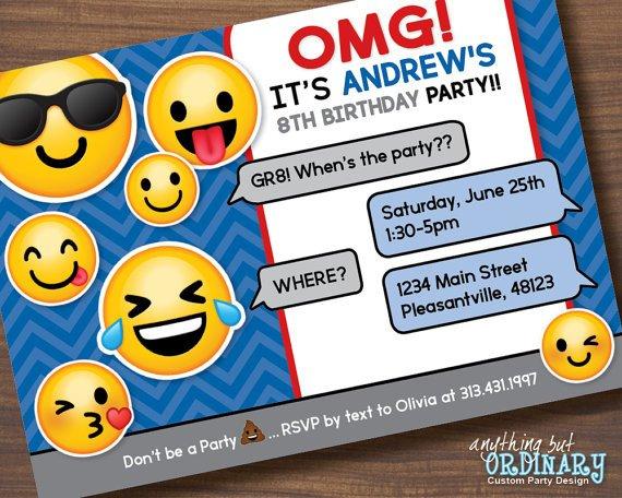 Emoji Birthday Invitation Template Boys Emoji Invitation Printable Emoji Birthday Party