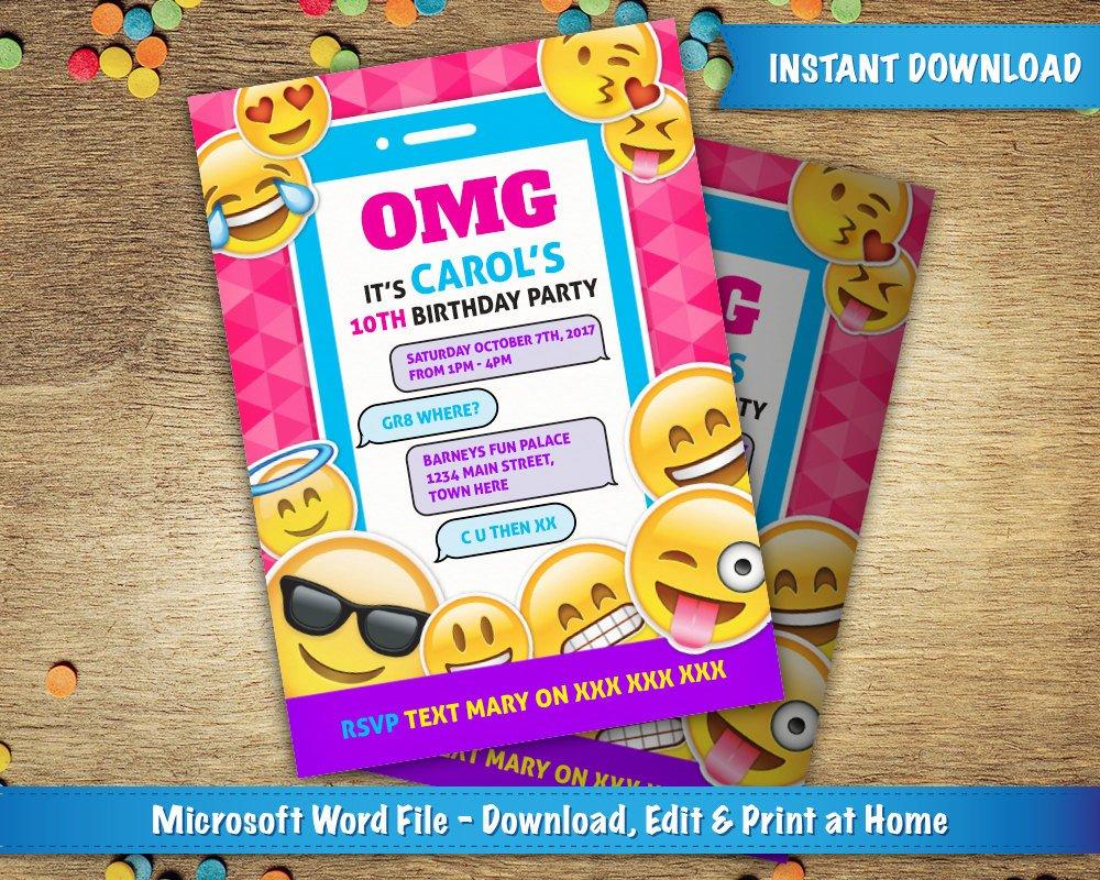 Emoji Birthday Invitation Template Diy Printable 5x7 Emoji Birthday Party Invitation Template