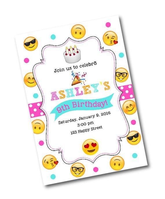 Emoji Birthday Invitation Template Emoji Birthday Party Invitation Emoji Birthday Party Emoji