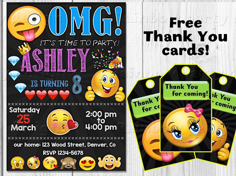 Emoji Birthday Invitation Template Emoji Invitation Emoji Birthday Invitation Emoji Invite Emoji