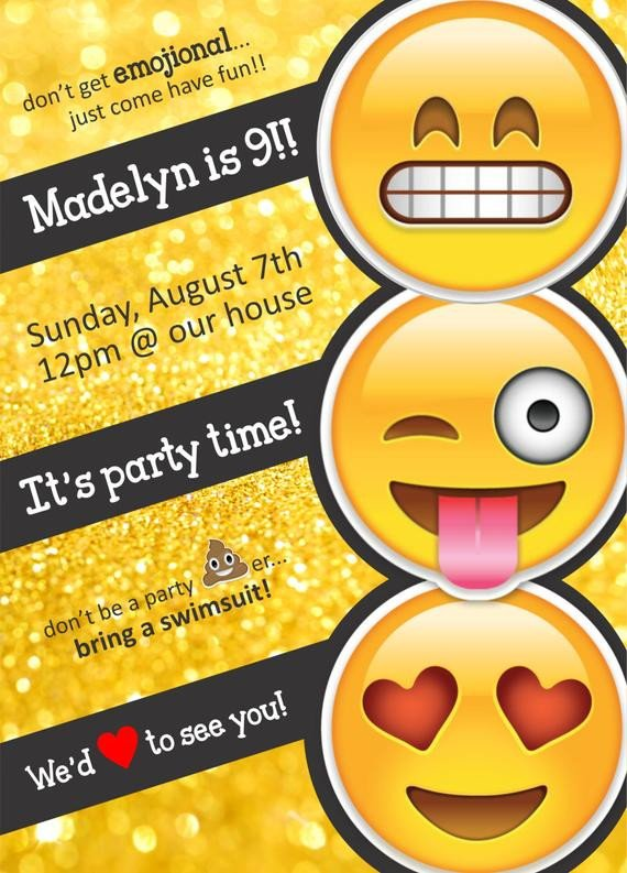 Emoji Birthday Invitation Template Emoji themed Birthday Party Invitation