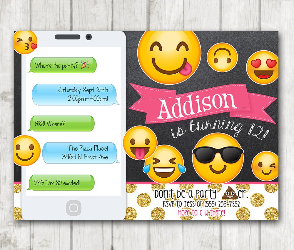 Emoji Birthday Invitation Template Printable Emoji Birthday Party Invitation Chalkboard Emoji