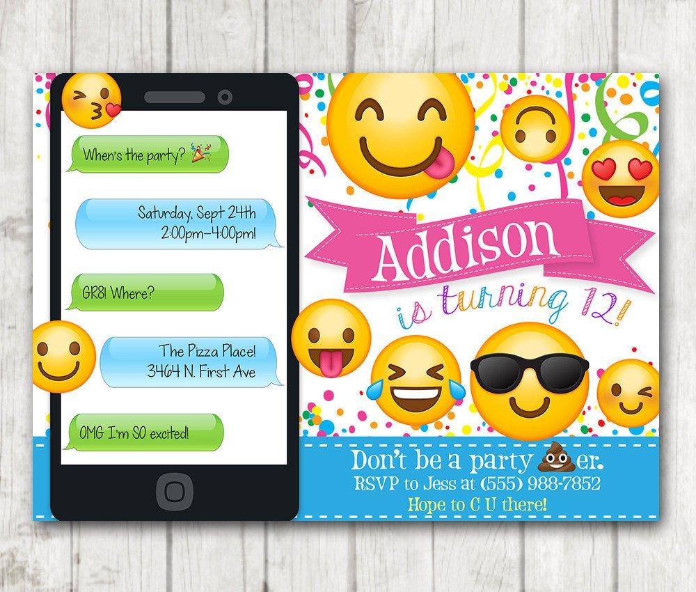 Emoji Birthday Invitation Template Printable Emoji Birthday Party Invitation Emoji Invitations