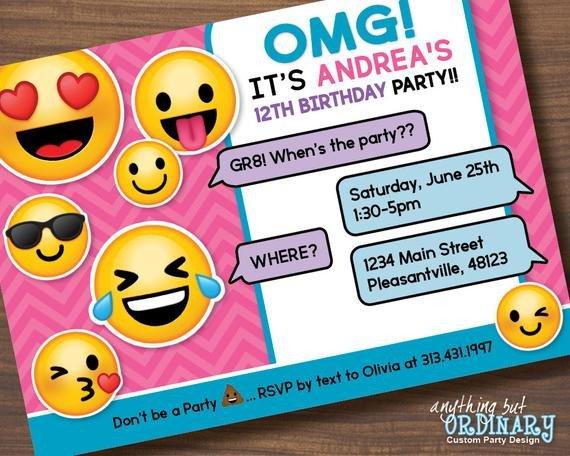 Emoji Birthday Invitation Template Printable Emoji Birthday Party Invite Girl S Emoji