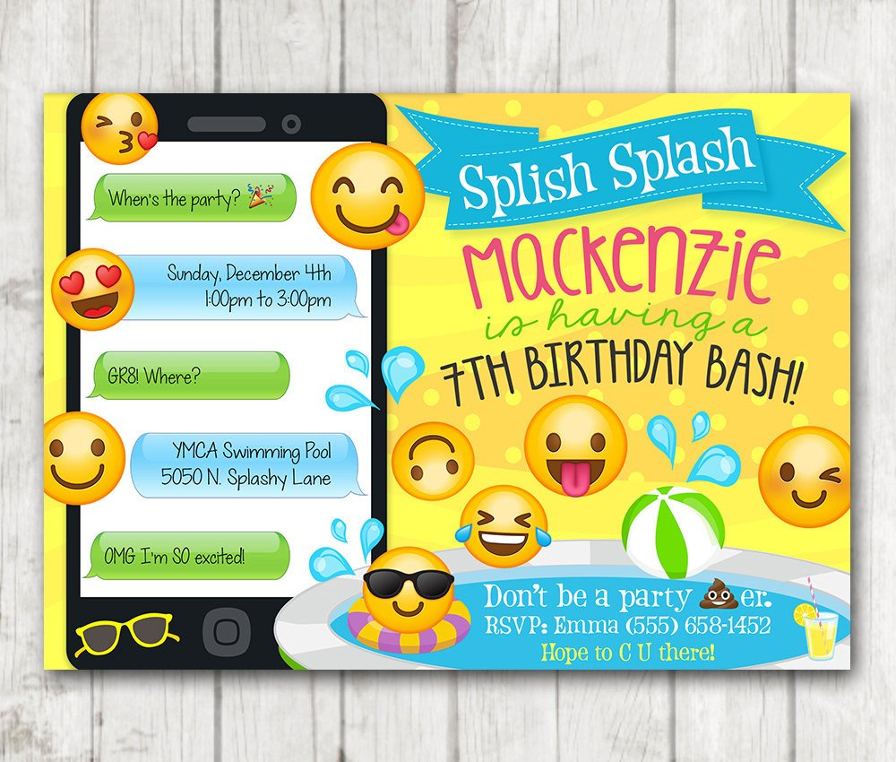 Emoji Birthday Invitation Template Printable Emoji Pool Party Party Invitation Swim Party Emoji