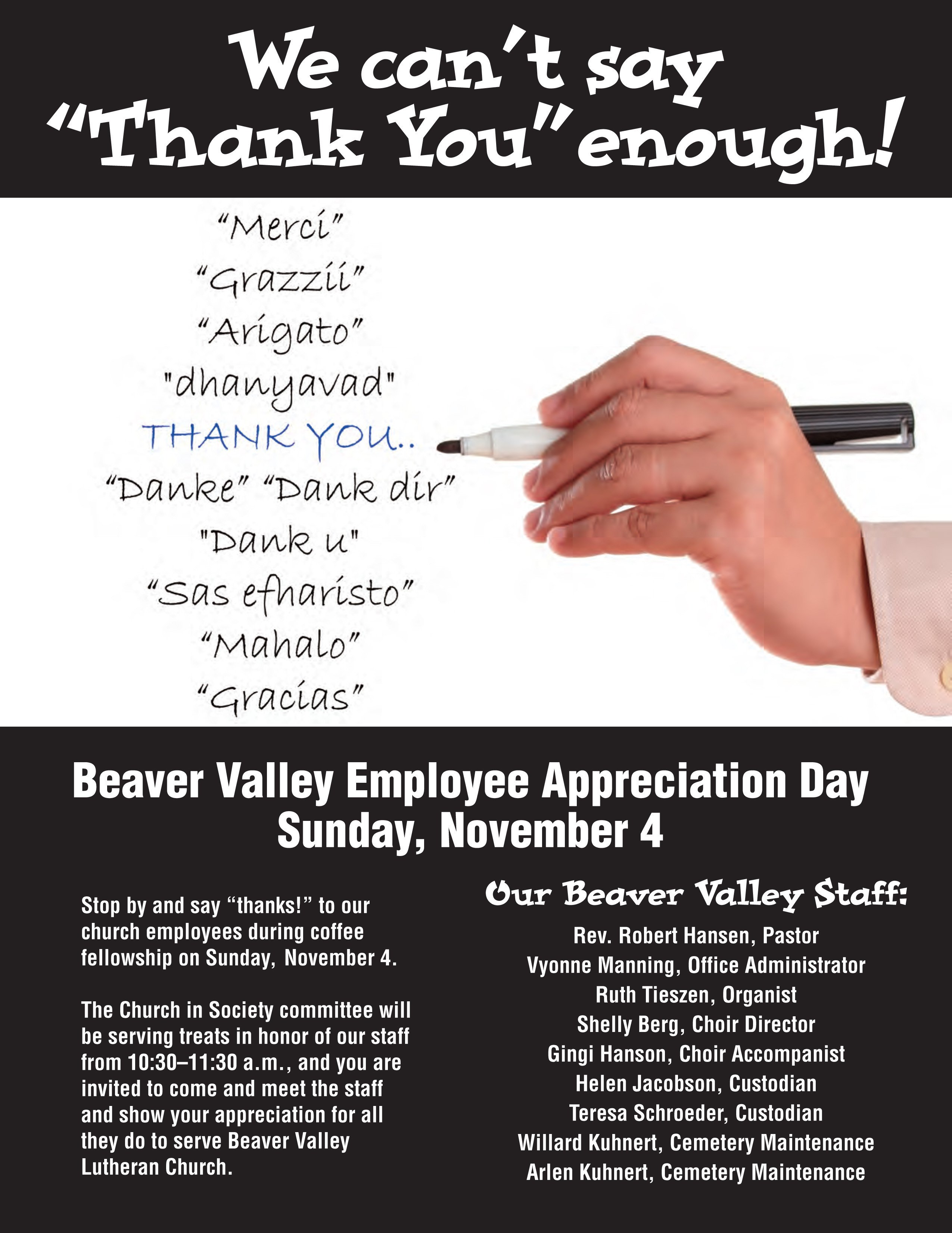 Employee Appreciation Day Flyer Template Staff Appreciation Day Nov 4