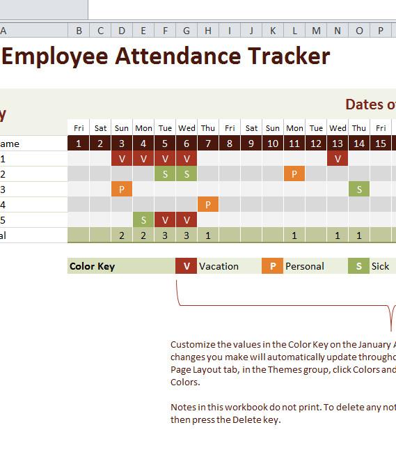 Employee attendance Tracker Excel Template 2016 Employee attendance Tracker My Excel Templates