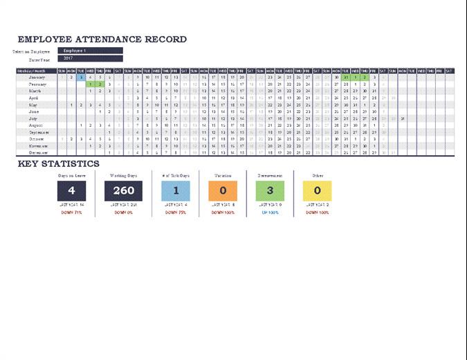 Employee attendance Tracker Excel Template Employee attendance Tracker