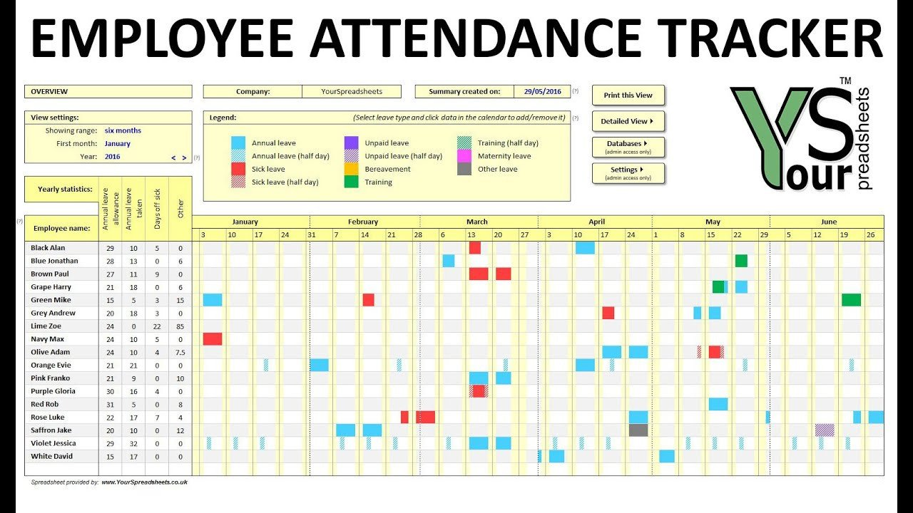 Employee attendance Tracker Excel Template Employee attendance Tracker Spreadsheet