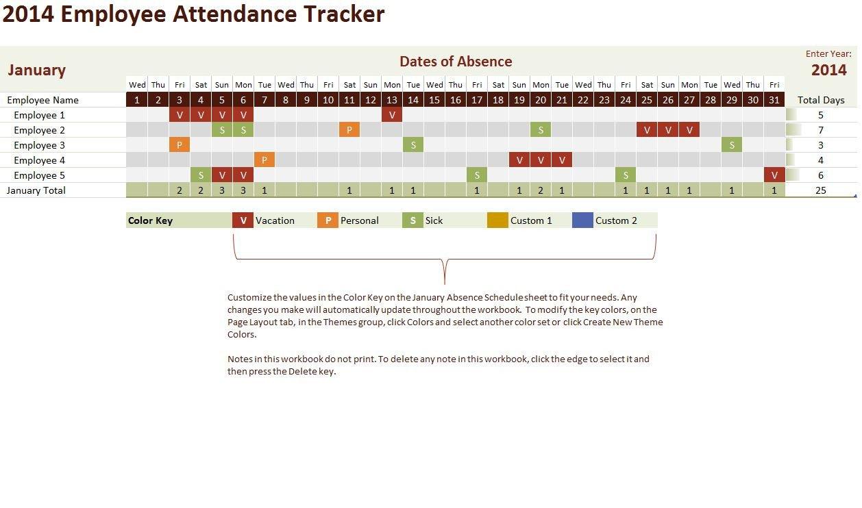 Employee attendance Tracker Excel Template Excel Calendar Template