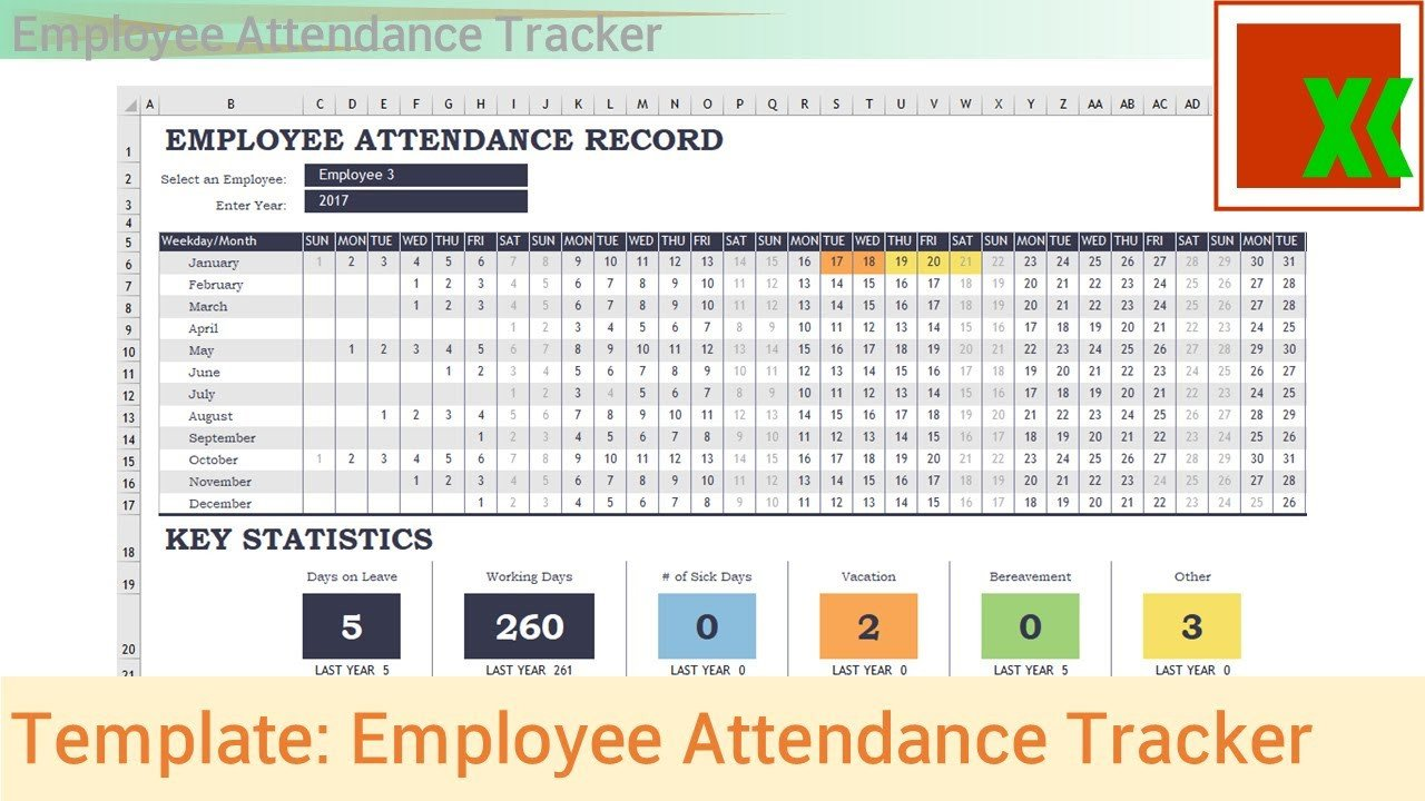 Employee attendance Tracker Excel Template Excel Template Employee attendance Tracker