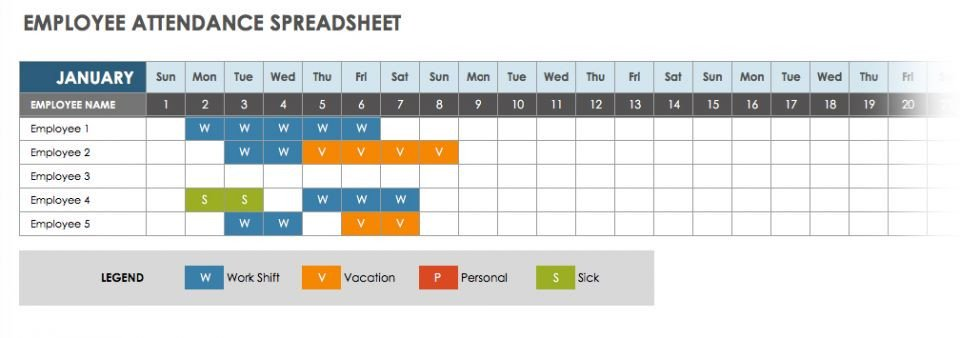Employee attendance Tracker Excel Template Free attendance Spreadsheets and Templates