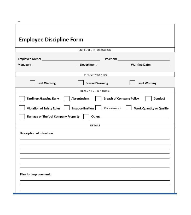 Employee Disciplinary Action form 40 Employee Disciplinary Action forms Template Lab