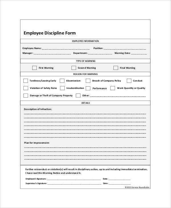 Employee Disciplinary Action form Employee Discipline form 6 Free Word Pdf Documents