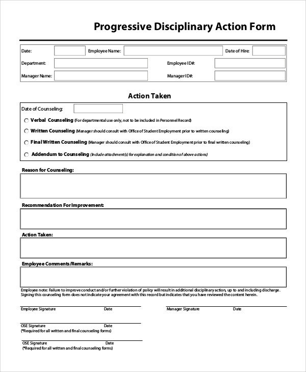 Employee Disciplinary Action form Sample Disciplinary Action form 8 Examples In Pdf Word