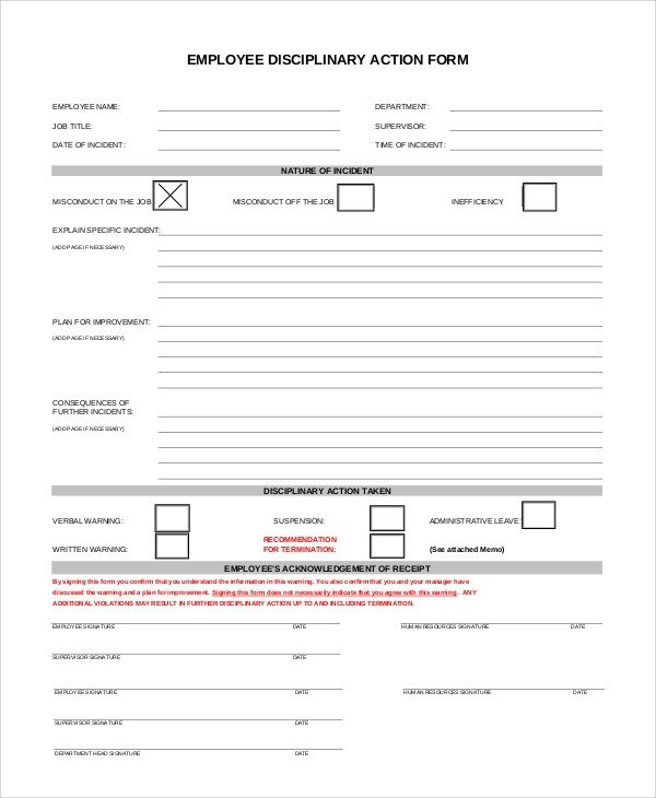 Employee Disciplinary Action form Sample Employee Discipline form 10 Examples In Pdf Word