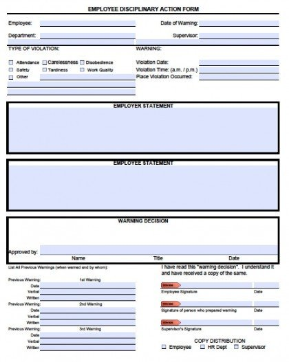 Employee Disciplinary Action Template Download Employee Write Up forms