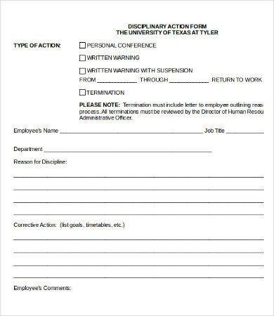 Employee Disciplinary Action Template Employee Corrective Action form