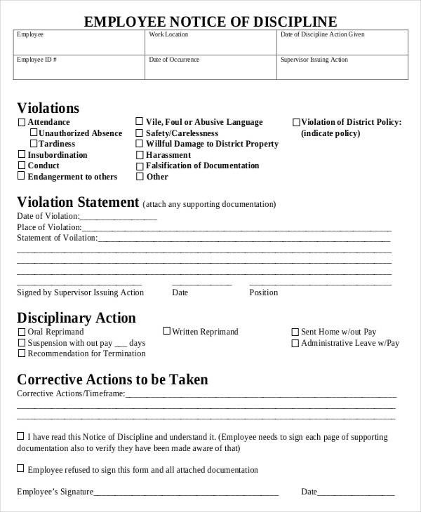 Employee Disciplinary Action Template Employee Discipline form 6 Free Word Pdf Documents
