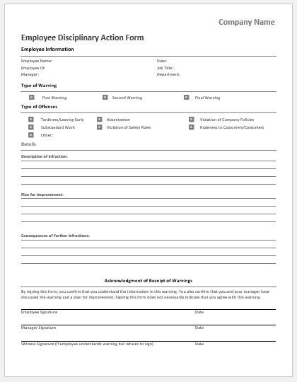 Employee Disciplinary Action Template Employee Vacation Request form for Ms Word