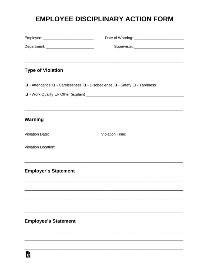 Employee Disciplinary Action Template Free Employee Disciplinary Action Discipline form Pdf