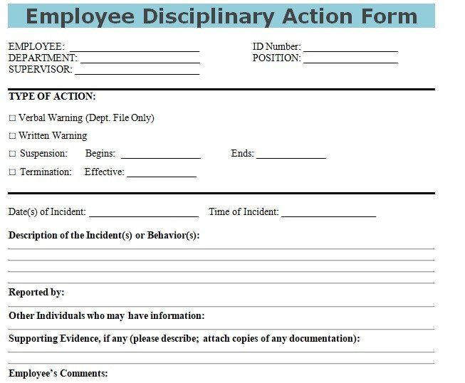 Employee Disciplinary Action Template Get Employee Disciplinary Action form Doc Template Excel