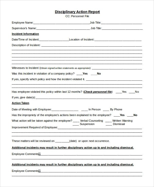 Employee Disciplinary Action Template Sample Disciplinary Action form 8 Examples In Pdf Word