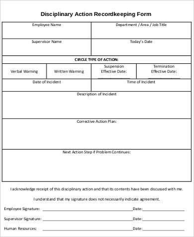 Employee Disciplinary Action Template Sample Employee Disciplinary Action form 7 Examples In