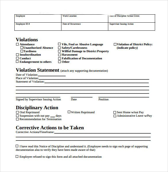 Employee Disciplinary Action Template Sample Employee Write Up form 7 Documents In Pdf