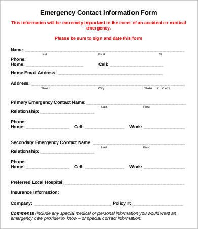 Employee Emergency Contact form Template 11 Emergency Contact forms Pdf Doc