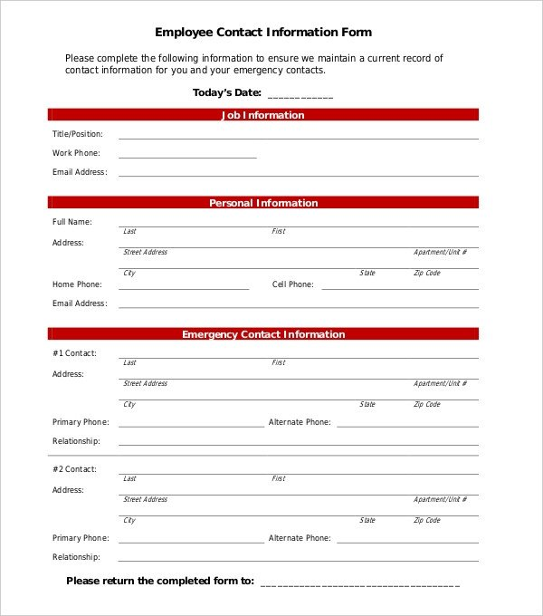 Employee Emergency Contact form Template 11 Sample Employee Information forms